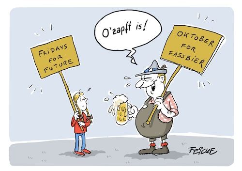 Cartoon: Ozapft is greta (medium) by FEICKE tagged oktoberfest,bier,umwelt,klima,greta,demo,ignoranz,oktoberfest,bier,umwelt,klima,greta,demo,ignoranz