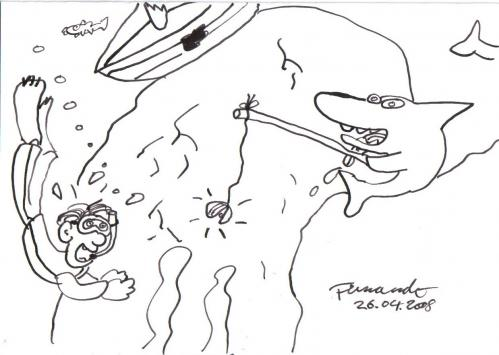 Cartoon: humaning (medium) by Fernando tagged fish,fishing,shark,sea,ocean,nature
