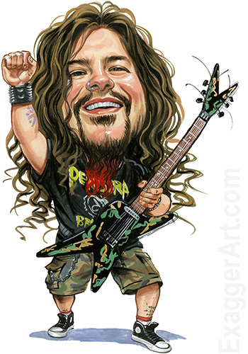 Cartoon: Dimebag Darrell (medium) by ExaggerArt tagged damageplan,pantera