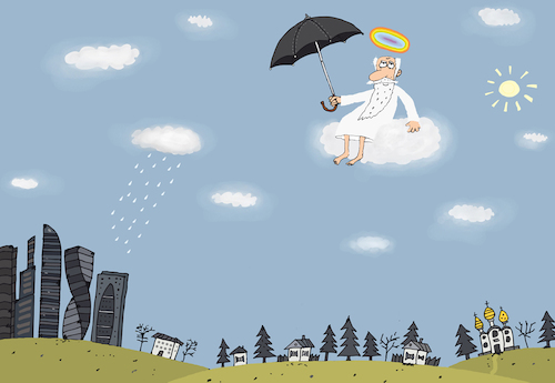 Cartoon: Regenbogen (medium) by belozerov tagged rainbow,regenbogen,rain,regen,wolken,umbrella,schirm,god,gott,religion