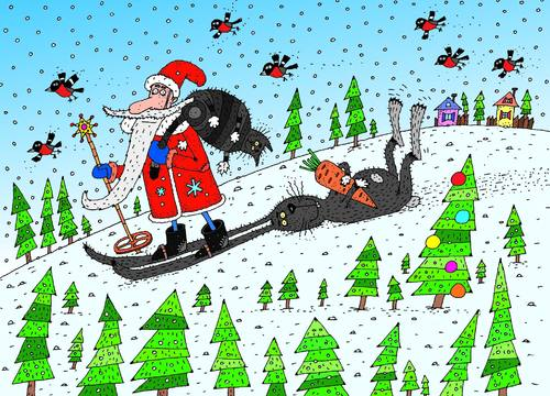 Cartoon: Santa (medium) by belozerov tagged nickel,santa,claus,weihnachtsmann,cat,hare,ski