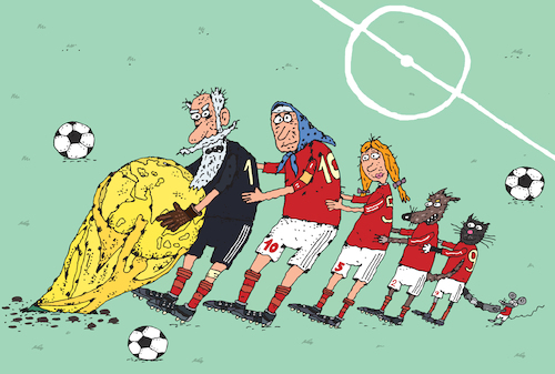 Cartoon: World cup (medium) by Sergei Belozerov tagged weltmeisterschaft,football,soccer,fussball,ball,team,elf,mannschaft,russland,poland,russia,polen,denmark,tales