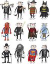 Cartoon: American movies (small) by Sergei Belozerov tagged chaplin,cat,alien,freddy,batman,spiderman,jedi,hobbit,avatar,predator,superman,terminator,movie,film,hollywood,casting