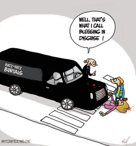 Cartoon: Blessing in Disguise (medium) by mil tagged undertaker,burial,accident,luck,mil,