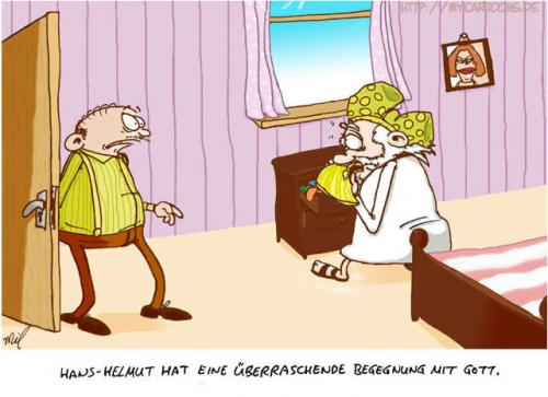 Cartoon: Hans-Helmut trifft Gott (medium) by mil tagged gott,hans,helmut,begegnung,cartoon,mil