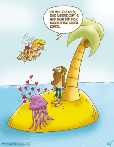 Cartoon: Liebesglück (medium) by mil tagged cartoon,insel,amor,liebe,mil