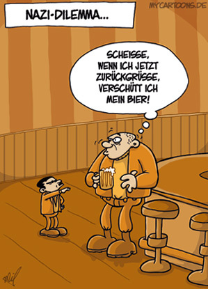 Cartoon: Nazi-Dilemma (medium) by mil tagged nazi,hitler,nationalsozialismus,dilemma,problem,bier,skinhead,rechts