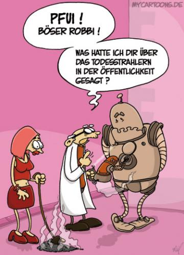 Cartoon: Schlecht erzogen (medium) by mil tagged roboter,robbi,professor,hund,frau,strahl,tod,mil