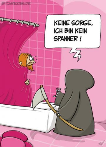 Cartoon: Tod im Bad (medium) by mil tagged tod,bad,frau,spanner,voyeur,sorgen,mil,