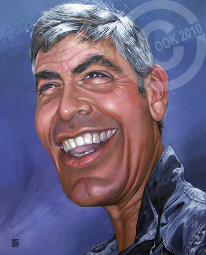 Cartoon: George Clooney (medium) by Russ Cook tagged cook,russ,american,america,famous,hollywood,star,caricature,actor,painting,zeichnung,karikaturen,karikatur,acrylic,celebrity,clooney,george