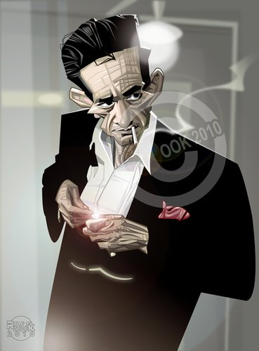 Cartoon: Johnny Cash (medium) by Russ Cook tagged country,singer,american,america,roll,rock,music,vector,portrait,illustration,caricature,cook,russ,cash,johnny