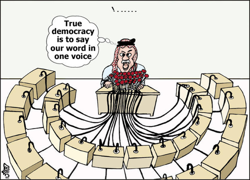Cartoon: Jordan Elections system (medium) by samir alramahi tagged jordan,elections,system,arab,ramahi,politics