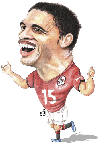 Cartoon: Muhammad Naji Gedo (medium) by samir alramahi tagged muhammad,naji,gedo,egypt,football,player,african,nations,cup,soccer,2010,top,scorer,portrait