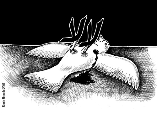 Cartoon: PEACE 044 (medium) by samir alramahi tagged palestine,peace,israel,tv,ramahi,arab,dove