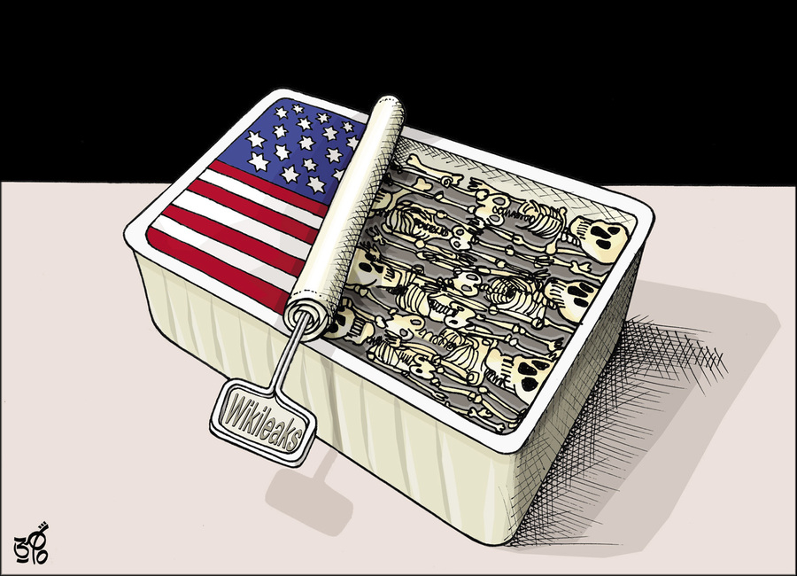 Cartoon: Wikileaks (large) by samir alramahi tagged usa,iraq,afganestan,war,arab,ramahi,cartoon