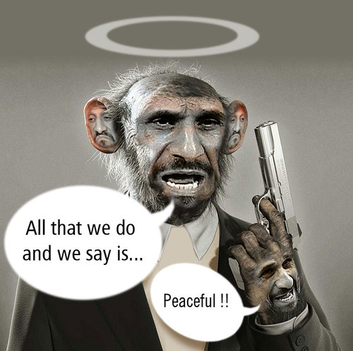 Cartoon: The Peaceful President (medium) by Kianoush tagged ahmadinejad