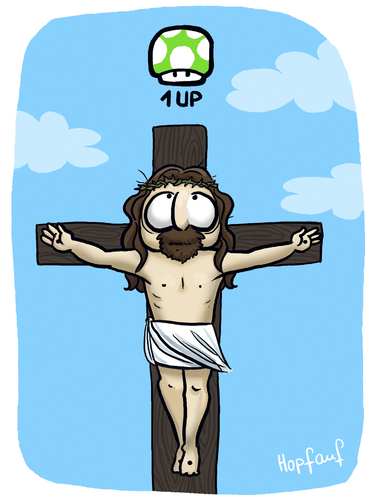 Cartoon: 1 Up (medium) by Hopfauf tagged 1up,game,spiel,jesus,kreuz,religion,leben,pilz,chance,wiederauferstehung