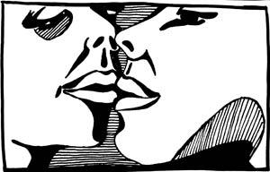 Cartoon: storyboard kiss (medium) by bona tagged schwarz,weiss,black,white,kissing,instruction,part,of