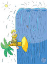 Cartoon: Wasserfall (small) by Sergey Repiov tagged wasserfall,insel,palme,robinson