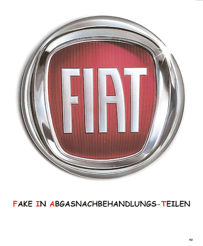 Cartoon: Fake In Abgasnachbehandlungs-T. (medium) by Erwin Pischel tagged fiat,logo,chrysler,abgase,abgasnachbehandlung,fake,betrug,skandal,stickoxide,emission,motorsoftware,illegal,manipulation,abgaswerte,abschalteinrichtung,verkehrsministerium,dobrindt,eu,kommission,pischel,auto,diesel,dieselfahrzeug,prüfstand,dieselmotor,abg