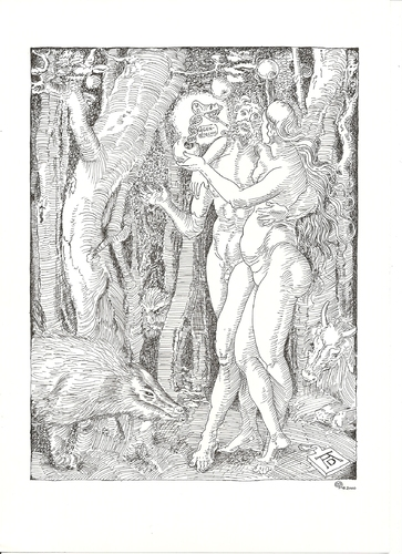 Cartoon: Modern Fall of Man (medium) by Erwin Pischel tagged sündenfall,dürer,adam,eva,schlange,gentechnologie,gentechnik,dna,transgene,lebewesen,genmanipulation,pischel