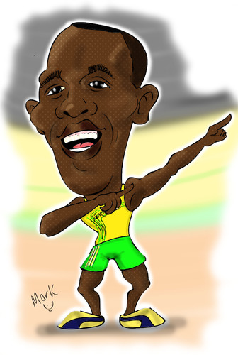 Cartoon: Usain Bolt... (medium) by Mark Anthony Brind tagged mark,anthony,brind,usain,bolt