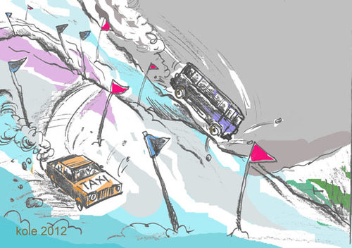 Cartoon: bus and taxi style of driving (medium) by kolle tagged jumping,slalom,sky,driving,taxi,bus