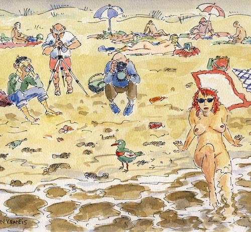 Cartoon: birdwatchers on a nude beach (medium) by neophron tagged birds,nude,beach,hobby,nature