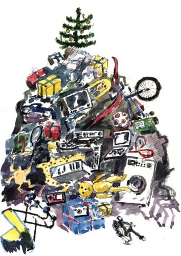 Cartoon: gifts under the tree (medium) by neophron tagged christmas