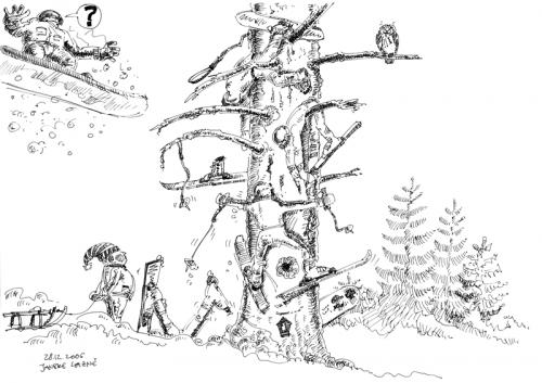 Cartoon: the old tree on the ski runway (medium) by neophron tagged satire,cartoon,the