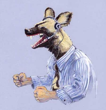 Cartoon: wildhund (medium) by neophron tagged satire,caricature,animals,tiere