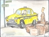 Cartoon: TAXI DRIVER (small) by ANDRZEJ PACULT tagged taxi,driver,new,york,city,scouting,for,fares,yellow,cabs,service,nyc,luggage,capacity,where,can,get,mohawk,haircut,in