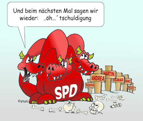 Cartoon: SPD-Parteivorsitz (medium) by wista tagged politik,spd,partei,vorsitzender,vorsitz,parteivorsitzender,parteivorsitzende,mobbing,aufgabe,abdanken,rot,links,linke,nahles,andrea,gabriel,sigmar,müntefering,franz,kurt,beck,scharping,rudolf,schröder,lafontaine,brandt,willy,aufgeben,verzciht,wahl,abwahl,scholtz,olaf,politiker,umgang,umgangsform