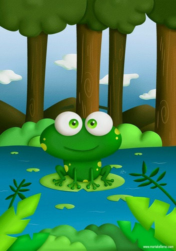 Cartoon: Happy Frog (medium) by kellerac tagged cartoon,frog,animal,nature,pond,maria,keller,illustration