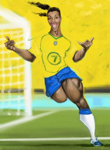 Cartoon: Ronaldinho Goucho (medium) by Ausgezeichnet tagged portrait,football,soccer,big,thighs,teeth,caricature,yellow,