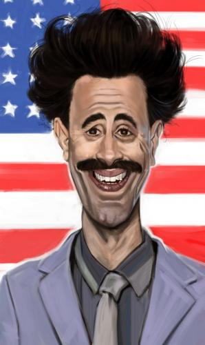 Image result for SACHA BARON COHEN CARTOON