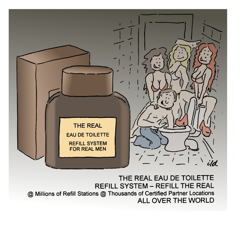 Cartoon: The real (medium) by achecht tagged eau,de,toilette,parfum,toilet,refill,refilling,station,eau,de,toilette,parfum,toilet,refill,refilling,station