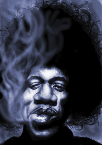 Cartoon: Jimis magic smile (medium) by szomorab tagged jimi,hendrix,rock,music