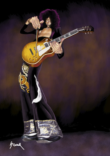 Cartoon: Jimmy Page (medium) by szomorab tagged jimmy,page,led,zeppelin,alternative,rock,guitar