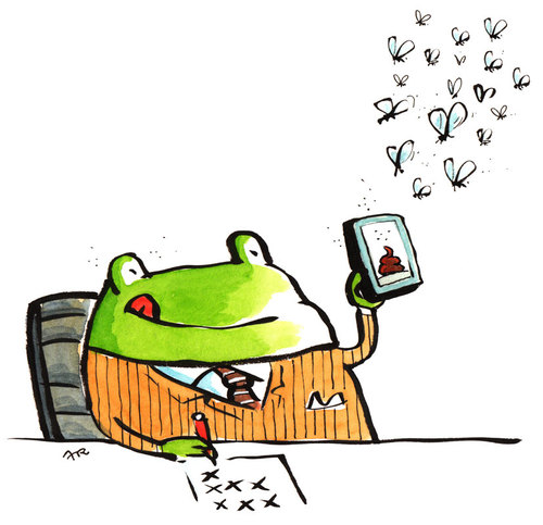 Cartoon: frog app (medium) by ari tagged plikat,computer,internet ...