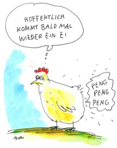 Cartoon: problemhuhn (medium) by ari tagged ernährung,ei,huhn,chicken,easter,ostern,landwirtschaft