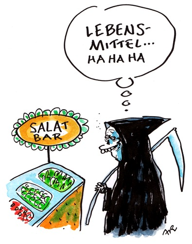 Cartoon: salat (medium) by ari tagged ehec,salat,bar,lebensmittel,gemüse,bakterien,sensenmann,tod,vegetarisch,gurke