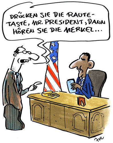 Cartoon: Taste (medium) by ari tagged obama,merkel,raute,nsa,handy,mobile,abgehört