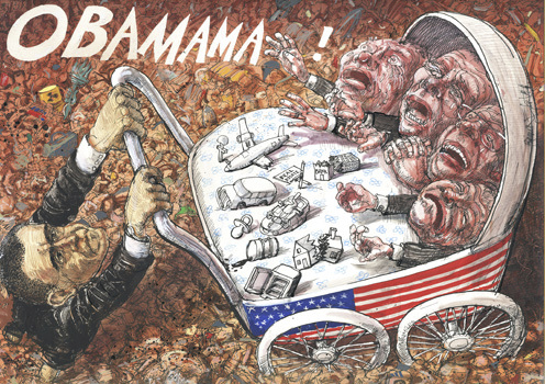 Cartoon: OBAMAMA! (medium) by Rainer Ehrt tagged obama,crisis,global