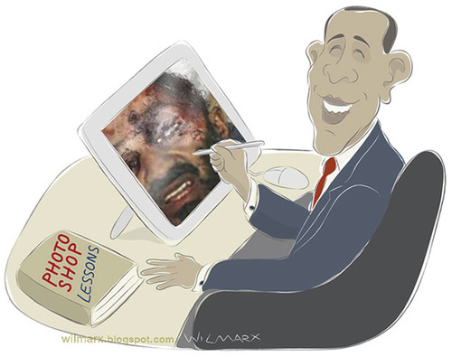 Cartoon: Obama Photoshop X Osama (medium) by Wilmarx tagged obama,laden,bin,politicians,terrorism