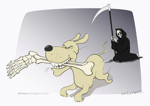 Cartoon: The Reaper attacked by a pet (medium) by Wilmarx tagged pet,animal,death