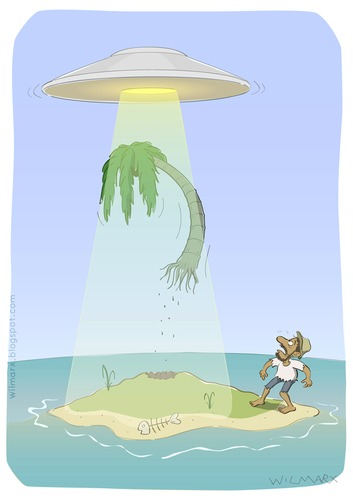 Cartoon: UFO on deserted island (medium) by Wilmarx tagged desert,island,ufo