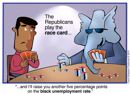 Cartoon: Playing the race card (medium) by carol-simpson tagged racism,usa,white,supremacy,prejudice,republican,party,unemployment,poker