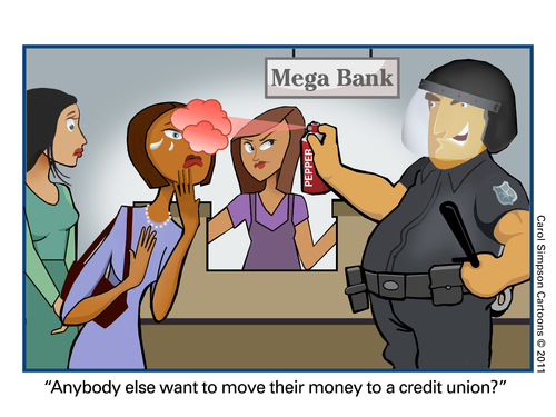 Cartoon: Thinking about leaving your bank (medium) by carol-simpson tagged street,wall,unions,credit,police,cops,banks