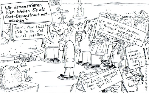 Cartoon: Demo (medium) by Leichnam tagged demo,demonstration,demonstranten,lohn,arbeiter,arbeiterschaft,geld,leichnam,leichnamcartoon,protest,plakate,straße